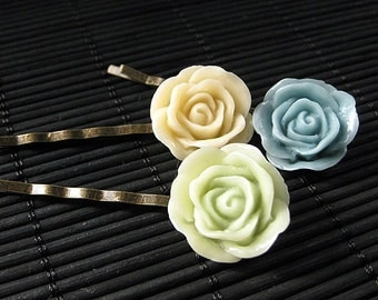 Bridal Party Inspired Bobby Pins in Blue, Green and Creme. Handmade Hair Accessories by StumblingOnSainthood. Handmade.