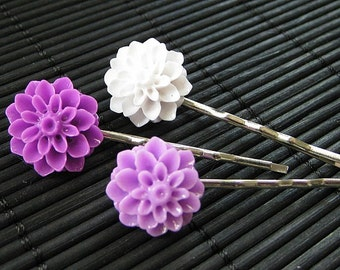Spring Lilac Inspired Floral Bobbypins in Purple, Lavender and White. Handmade.