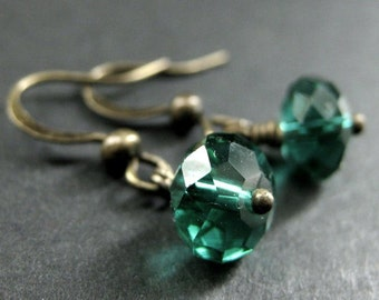 Teal Crystal Earrings. Dangle Earrings in Teal Green Glass. Handmade Jewelry.
