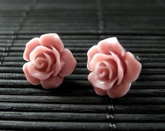 Antique Pink Flower Earrings. Gardenia Flower Earrings with Bronze Stud Earrings.