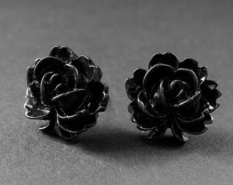 Lotus Rose Earrings in Black with Silver Stud Earrings. Floral Jewelry. Handmade Jewelry.