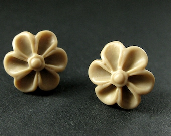 Taupe Flower Earrings with Bronze Earring Posts. Outie Button Flower Jewelry. Handmade Jewelry.
