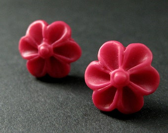 Red Pink Flower Earrings with Silver Earring Studs. Outie Button Flower Jewelry. Handmade Jewelry.