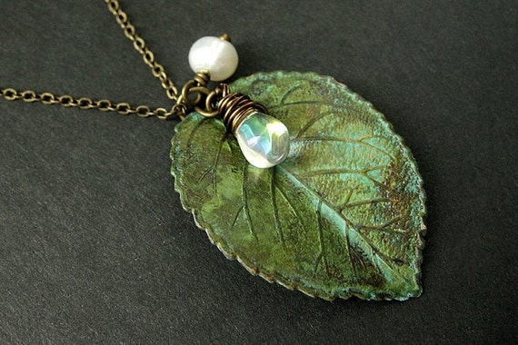Green Leaf Necklace. Charm Necklace with Fresh Water Pearl and Clear Teardrop. Handmade Jewelry.
