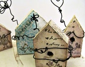 Together   Primitive Folk Art Style Miniature Bird House