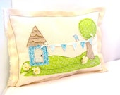 Little Blue Bunting Summer Folk Art  Fabric Collage Pillow, Cottage Chic,Home Decor,Nursery,Mothers Day