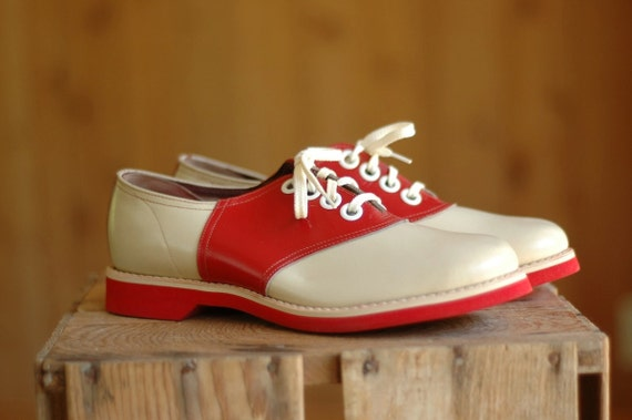vintage NOS 1940s red and white saddle shoes