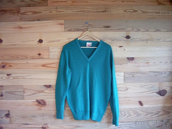 SALE / Vintage Teal V Neck Botany Wool English Sweater small medium large xl
