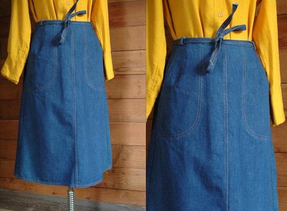 vintage 1970s skirt / 70s denim wrap skirt