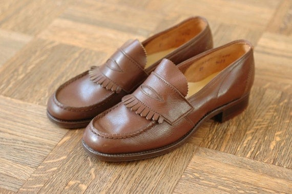 vintage NOS 1940s women's penny loafers / 40s brown leather loafers / size 5.5 / size 1/2 / size 36