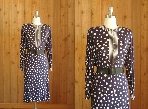 vintage 1970s dress / 70s BESSI silk jersey dress / medium