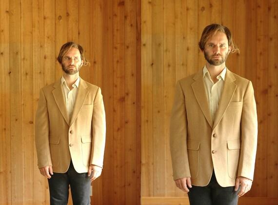 vintage men's camel hair blazer / mens wool jacket