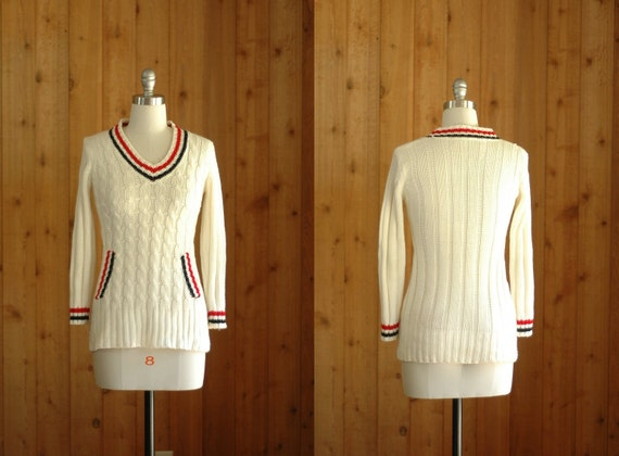 vintage 1970s preppy v neck sweater