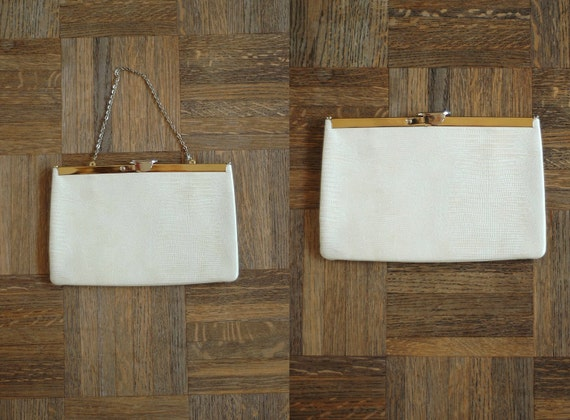 vintage 1960s white leather clutch