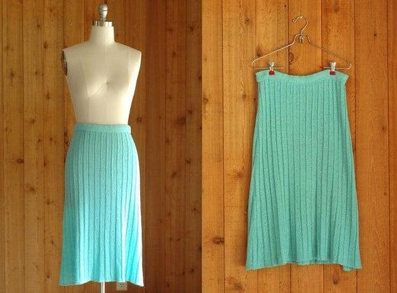 vintage mint green knit skirt / small medium