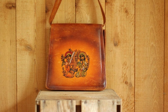 SALE / vintage 1970s rust brown leather purse / hand painted folk satchel