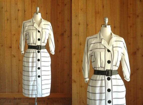 vintage white dress / striped shirtwaist dress / size small medium