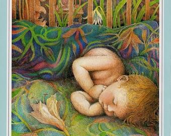 Baby Boy Sleeping Nursery  Vintage Prints Kay Chorao Country Dreaming Artwork Ephemera Framable art Christian prints Religious art