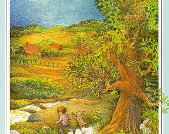Nursery Print Kay Chorao  poem I see the Moon Baby boy girl walking moonlight