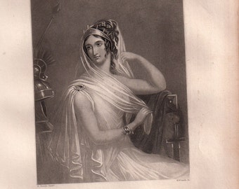 Shakespeare Woman Helen Steel Engraving Victorian woman Antique Print Chalmers Antique art framable
