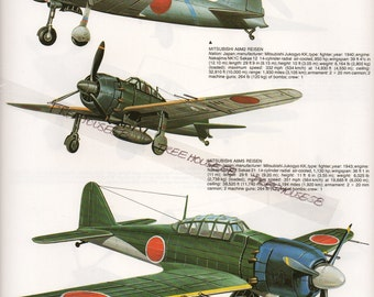 Military Aircraft Japanese Zero Russian MiG Fighter War Planes Print