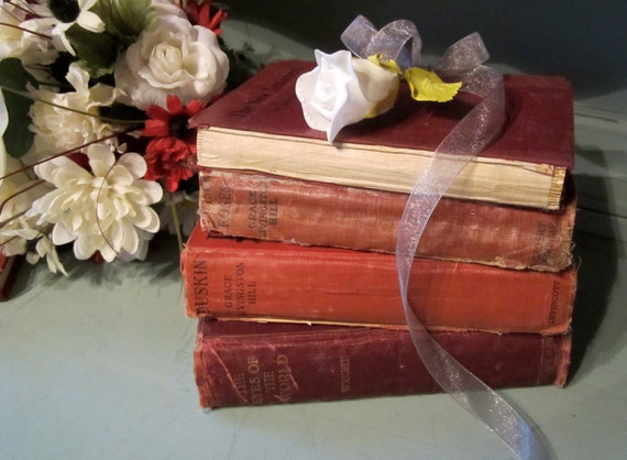 Vintage Red Books Bundle Stack Shabby Instant Library Valentine Decor Grace Livingston