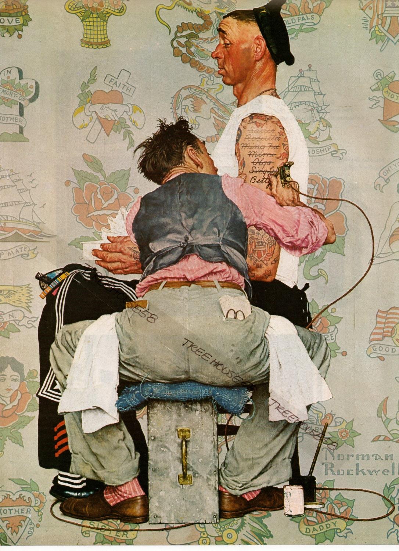 Norman rockwell print the tattooist tattoo artist by for Norman rockwell tattoo