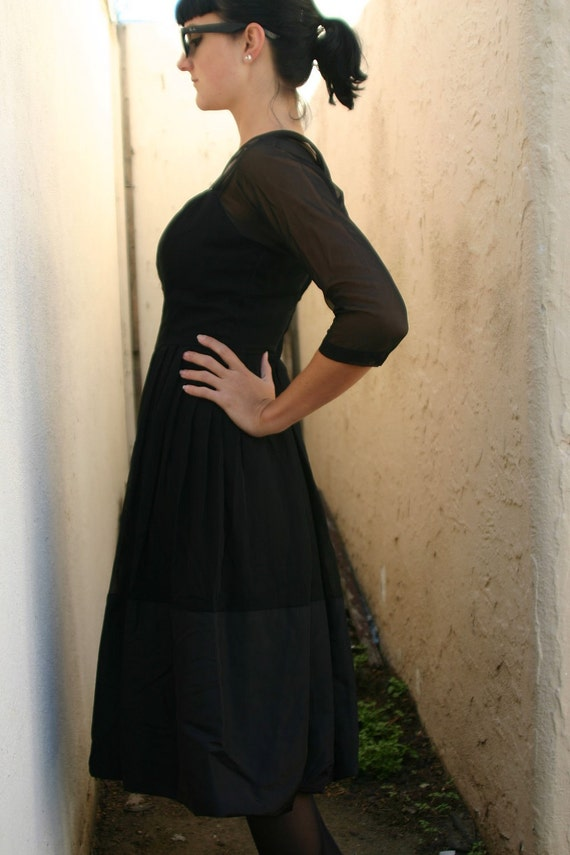 Vintage 1950s - Black Dress - Long Sleeve Cocktail Dress - Size Small