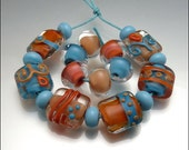 SEVILLE - Orange and Turquoise Handmade Lampwork Nugget Bead Set - by Stephanie Gough SRA FHFTeam LETeam Coral