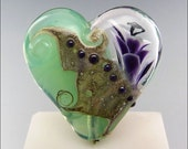 Purple and Green Heart Glass Bead Lampwork Pendant Large Focal Handmade Jewelry Supplies - by Stephanie Gough sra fhfteam leteam