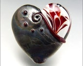Red Heart Glass Bead Lampwork Pendant Large Focal Handmade Jewelry Supplies - by Stephanie Gough sra fhfteam leteam