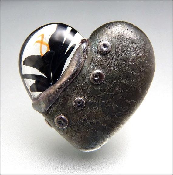 Black Heart Glass Bead Lampwork Pendant Large Focal Handmade Jewelry Supplies - by Stephanie Gough sra fhfteam leteam