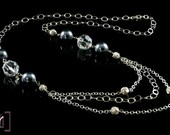 Swarovski Crystal Necklace with Large Grey Pearls and Silver Chain