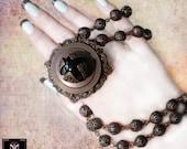 Victorian Style Necklace Black Onyx Pendant Vintage Brass Filigree