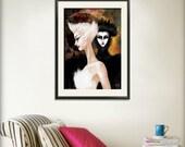 Swan Lake Print 11x14 Black Swan Ballet Art Illustration