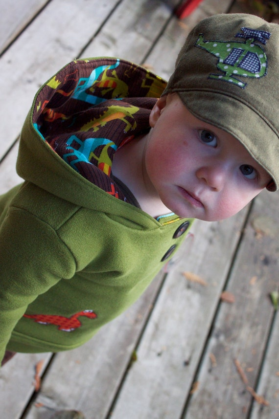 """BOYS HOODIE - Warm Stylish Dinosaur Hoodie For Boys - size 6-12 months - """"The Dino Dudes"""" - Ready to Ship"""