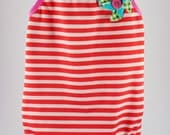 Martina red & white striped girl swimsuit with pinwheel and bunting detail