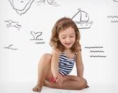 Navy stripes & pink dots Sofía toddler swimsuit