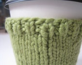 70% OFF Green Organic Knit Sipper Sweater, Coffee Cup Cozy,  Sleeve