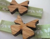 Hair Clips/Clippies - Baby/Toddler/Kid - Wooden Butterflies Pastel - Set of 2