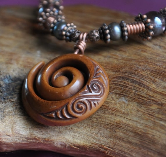 Bone Koru necklace.  Handcarved with freshwater pearls & Copper