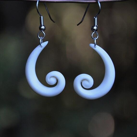Handcarved bone Koru earrings