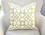 CLEARANCE // Kravet Windsor Smith Pelagos Pillow Cover -- 18x18 -- Lime/White -- Zipper Closure