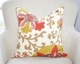 READY TO SHIP // Braemore Silsila Suzani Floral Medallion Pillow Cover -- 18x18 -- Curry / Red / Blue / Pink / Gold  -- Zipper Closure