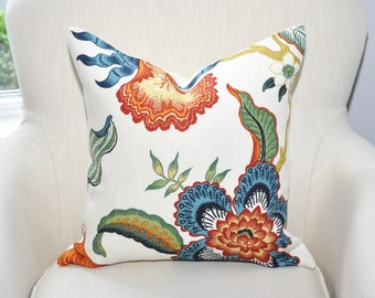 Celerie Kemble Hothouse Flowers Pillow Cover -- Spark -- Red / Orange / Green / Blue -- Zipper Closure