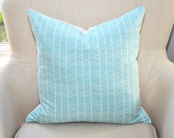 Joel Dewberry Herringbone Pillow Cover -- 18x18 -- Aqua/White -- Zipper Closure