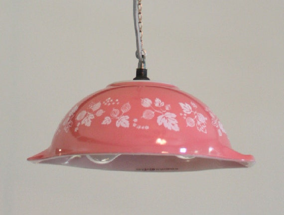 On Hold for AMY GINN Pink Pyrex mixing bowl pendant