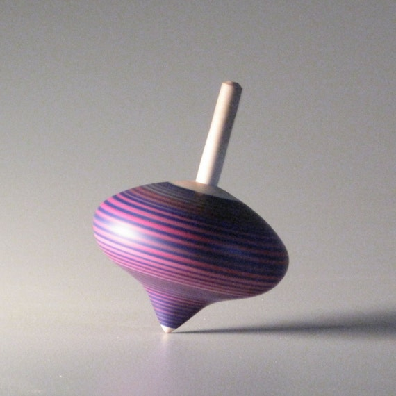 Purple & Pink striped spinning top - turnip shaped