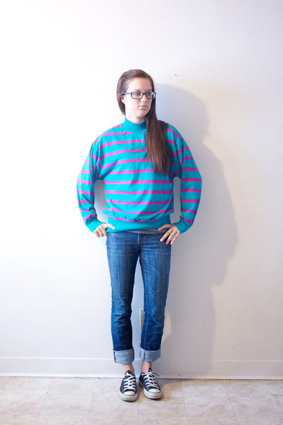 SALE CLEARANCE Vintage Retro Blue and Pink Long Sleeve Shirt