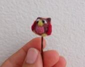 Needle felted  Owl bobby pin